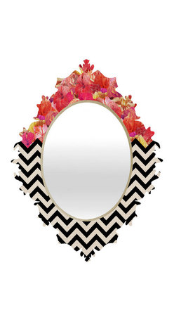 """Chevron Flora 1 Baroque Mirror, 14""""x19"""" - - Face: High gloss aluminum with UV resistant coating"""