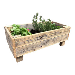 (del)Hutson Designs - Urban Acres - elevated gardening bed - This planter is made from 100% reclaimed wood. There are no stains, or clear coating on this item. It is 100% natural and safe for plants and herbs. The raised design helps to keep bugs away from your herbs and flowers