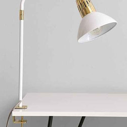 Assembly Home Clipped Tube Lamp - Something about white enamel and shiny, bright brass together always grabs me. I love this little task lamp from Urban Outfitters.