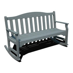 Fifthroom - Siesta Rocking Garden Bench - It's easy to form a rock group, with our 100% Recycled Plastic Poly Lumber Rocking Garden Bench.  Just put it on your porch or deck, and everybody will want to get into the act.  Of course, with a choice of three lengths, you have the final say in the size of the group.  And, with the wide range of colors available, you can tone it down or jazz it up any way you like.