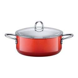 Silit - Passion Colors Low Casserole w/Lid, Energy Red, 4.5 Qt. - -Extra-sturdy, drawn-in-one-piece steel core.