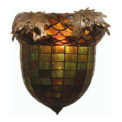 "Meyda Lighting - Meyda Lighting 12"" W Greenbriar Oak Wall Sconce - Majestic As The Mighty Oak Is This Leaf Adorned Wall Sconce In An Antique Copper finish. A Lighted Stained Glass Acorn, In Multi Toned Autumn Green With A Bark Brown Granite Glass Crown Sprouting Oak Leaf Covered Hardware That Is Hand Made In The USA By Meyda Tiffany Craftsmen."