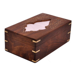 SouvNear - SouvNear Wooden Handmade Tissue Box Cover with Intricate Decorative Brass-Work - * Rectangular tissue holder handmade in solid rosewood - good for a lifetime! Has a hinged top cover and a wooden base; so essentially it's a box - not just a cover.