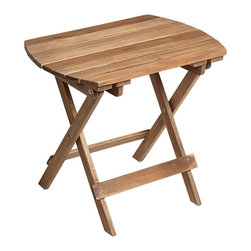 """Lamps Plus - Coastal Monterey Natural Wood Outdoor Side Table - Wood folding table for outdoor or indoor use. Slat top. Natural finish. Acacia wood construction. 18"""" high. 20"""" wide. 14"""" deep.  Wood folding table for outdoor or indoor use.   Slat top.  Natural finish.    Acacia wood construction.  Some assembly required.  18"""" high.   20"""" wide.   14"""" deep."""