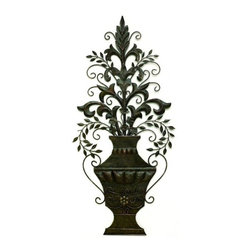 """Urn with Leaf Accent Wall Grille - Burnished Green Brown Iron & Tole Urn with Leaf Accent Wall Grille Forged by master craftsmen of tole and iron. Hand finished in a multi-step process 16.5"""" wide/35.5"""" tall Weight: 2 pounds 12 ounces Hooks on back for hanging"""
