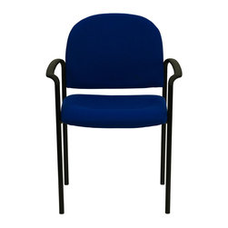 Flash Furniture - Navy Fabric Comfortable Stackable Steel Side Chair with Arms - Complete your office or reception area with this stacking side chair by Flash Furniture. The comfortably padded seat and back are provided to make your guests feel at ease while waiting. The steel frame of this chair is strong enough to last for years of use.