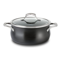 Calphalon Unison Nonstick 5 qt. Dutch Oven w/Lid - The Calphalon Unison 5 quart Dutch Oven with lid is a very versatile addition to your kitchen. Use this casserole for braising and cooking pot roast or any foods that taste best when seared and then slow cooked. Unlike other nonstick materials, Calphalon's sear nonstick surface gets hot enough so you can brown foods and then add other ingredients. This Unison Dutch oven from Calphalon heats quickly and without hot spots because of its heavy-gauge aluminum construction. Calphalon Unison cookware is also hard-anodized and sealed, so it looks great and it can go in the dishwasher for easy cleaning. Calphalon cookware is made in the USA and has a lifetime guarantee. Dutch Oven made in the USA!