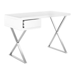 Safavieh - Hanover Desk - Geometric simplicity and clean lines make the Hanover desk an uncomplicated yet handy piece with white lacquer top resting above painted silver angular cross-beam supports. The slender desktop is softened with rounded edges and features an ample drawer.