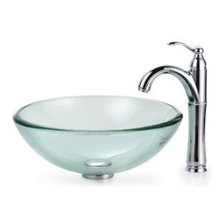 Kraus - Kraus Clear 19mm thick Glass Vessel Sink and Riviera Faucet Satin Nickel - *Add a touch of elegance to your bathroom with a glass sink combo from Kraus