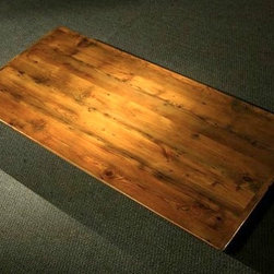 7ft Golden Brown Rustic Farm Table With Smooth Grain - Made by www.ecustomfinishes.com