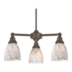 Design Classics Lighting - Mini-Chandelier with Grey Art Glass in Neuvelle Bronze Finish - 598-220 GL1025MB - Transitional neuvelle bronze 3-light chandelier. Takes (3) 100-watt incandescent A19 bulb(s). Bulb(s) sold separately. UL listed. Dry location rated.