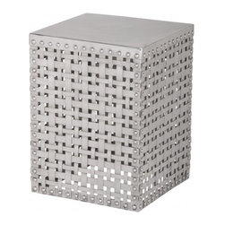 Weft Square Table - The Weft square table features a polished woven pattern. In recycled aluminum, it would add texture to any dull corner. I think it would be amazing against a dark wall.