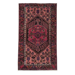 Harooni - Perfect Gift Persian Hand Knotted 4X6 Wool Rug Hand Knotted Rug From Iran - Inspired by timeless Persian Hamadan designs crafted with the softest Wool available. Genuine Handmade 4 ft. x 6 ft. Persian Hamadan Rug from Iran. Exact size of this Persian Hamadan is 3' 10'' x 6' 5'' and it is in New-Excellent condition with predominant Salmon Red field color and Burgundy border, with the following accent colors: salmon, red, blue, ivory, green. This is 100% Hand Knotted Salmon Red 4 ft. x 6 ft. Persian Hamadan Rug. It is not machine made, nor hand-tufted, it is authentic hand knotted 4 ft. x 6 ft. Rug, imported from Iran. Please refer to the last picture (the back of the Rug), which shows the authenticity of the weave.