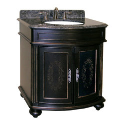 """Kaco International Inc. - Kaco 5300-3000-1025AB Arlington 30"""" Vanity - The Arlington, a stately traditional cabinet, features panel and frame doors, raised moulding drawer trim, bowed front , and fluted pilasters supported by rounded bun feet. Kaco products feature a Sherwin Williams water resistant furniture grade finish and a complete package of complimenting products for the bath."""