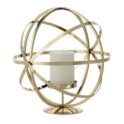 Z Gallerie - Atlas Pillar Holder - Our handsome gold Atlas Pillar Holder reflects the worldly look of intersecting global meridians to make an impressive decorative accent. Exclusive to Z Gallerie, the pillar holder is crafted of sturdy iron with a gold finish, and a pedestal within holds a standard 3 inch diameter pillar candle (not included).