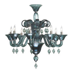 Kathy Kuo Home - Treviso 8 Light Dark Blue Smoke Murano Glass Style Chandelier - Ebullient curves of glass reach to the sky, brilliant drops hang from its arms, and light shines from eight bulbs of this Murano style chandelier.  This piece is a celebration of modern baroque, painted in subdued blue-gray.