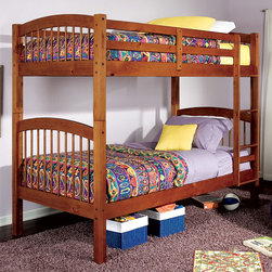 Coaster - 460173 Twin/Twin Bunk Bed - The clean casual designs of this twin bunk bed will create a fun and inviting focal point in your child's bedroom. Full length guard rails offer security, while the built-in ladder provides convenience. Durable solid wood in a warm oak finish exudes a relaxed style that will fit in with any decor. This space saving design will make a wonderful addition to your child's space.