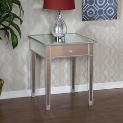 "Wildon Home � - Hamilton End Table - Perfect for any room, this glamorous mirrored end table is a perfect compliment for your home. With its mirrored finish, it adapts to any surroundings without overpowering them, yet catches your eye with its unique presence. The practical size and function work as well in the living room as they do bedside. Finishing the table off is a spacious drawer with faux crystal knob. Features: -One drawer with faux crystal knob.-Silver painted wood trim.-Mirrored finish.-Base Finish: Silver.-Distressed: No.-Powder Coated Finish: No.-Gloss Finish: No.-Base Material: Manufactured wood; Glass.-Top Material: Manufactured wood; Glass.-Number of Items Included: 1.-Nesting Tables: No.-Non-Toxic: No.-UV Resistant: No.-Scratch Resistant: No.-Stain Resistant: No.-Lift Top: No.-Storage Under Table Top: No.-Drop Leaf Top: No.-Magazine Rack: No.-Built In Clock: No.-Drawers Included: Yes -Number of Drawers: 1.-Drawer Handle Design: Knob..-Exterior Shelves: No.-Cabinets Included: No.-Glass Component: Yes -Tempered Glass: No.-Beveled Glass: No.-Frosted Glass: No..-Legs Included: Yes -Number of Legs: 4..-Casters: No.-Lighted: No.-Stackable: No.-Adjustable Height: No.-Outdoor Use: No.-Swatch Available: No.-Commercial Use: No.-Recycled Content: No.-Eco-Friendly: No.-Product Care: Wipe clean with a dry cloth.-Built In Outlets: No.-Powered: No.Specifications: -FSC Certified: No.-EPP Compliant: No.-ISTA 3A Certified: No.-ISTA 1A Certified: No.-General Conformity Certificate: No.-Green Guard Certified: No.-ISO 9000 Certified: No.-ISO 14000 Certified: No.-UL Listed: No.Dimensions: -Overall Height - Top to Bottom: 28.75"".-Overall Width - Side to Side: 23.75"".-Overall Depth - Front to Back: 23.75"".-Table Top Width - Side to Side: 23.75"".-Drawer: -Drawer Interior Height - Top to Bottom: 5"".-Drawer Interior Width - Side to Side: 15"".-Drawer Interior Depth - Front to Back: 15""..-Overall Product Weight: 49 lbs.-Legs: Yes.Assembly: -Assembly Required: Yes.-Tools Needed: Screwdriver.-Additional Parts Required: No.Warranty: -Product Warranty: 1 Year limited manufacture warranty."