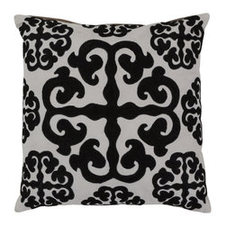 "Surya - Square Pillow LG-576 - 18"" x 18"" - This trendy design and the raised texture add style to every room. This pillow has a polyester fill and a zipper closure. Made in India with one hundred percent cotton and some wool detail, this pillow is durable and priced right."