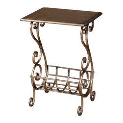 Uttermost Lilah Silver Leaf Magazine Table - Lightly burnished silverleaf with subtle champagne patina. Lightly burnished silver leaf finish with subtle champagne patina. Decorative, hand forged metal base.