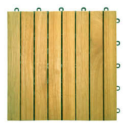Vifah - Vifah Premium Plantation Teak Interlocking Deck Tile - 8 Slats - Vifah - Tile - V355 - The 8 slat design is one of the new designs introduced in 2009, offering a more affordable alternative to the classic 4 slat and 6 slat design. In this design, there are 8 vertical wood slats pre-screwed into the interlocking plastic base. This design provide a beautiful look for any outdoor decking projects, especially smaller areas such as balconies and small terraces.
