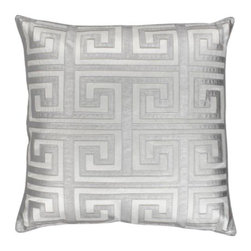 """Z Gallerie - Mykonos Pillow 24"""" - Twisting back onto itself like the pattern's namesake River Meander, our Mykonos Pillow is as stately as decoratively distinctive. The Greek key design takes center stage with its careful fretwork applique, mimicking butter soft leather in a rich silvery hue atop a crisp white backdrop. The generously sized 24 inch square pillow is filled with a sumptuous feather and down insert and a hidden zipper."""