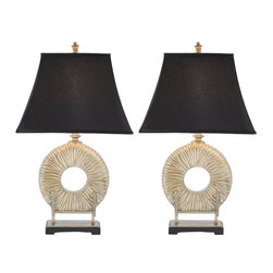 Safavieh - Gabriella Circle Lamp ZMT-LIT4019A (Set of 2) - Asian influences abound in the Gabriella Circle Lamp, with its softened pagoda-shaped shade of black and a matte finish silver-plated textured body resting like sculpture on a footed museum stand. (Sold in set of 2).