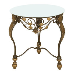 Passport - Sophia Round Accent Table w Glass Top - Removable glass top. Stretcher bottom for added stability. Two tone metal. Beveled edges. Dust with dry cloth. Made from metal. Oil rubbed bronze finish. Assembly required. 22 in. W x 24 in. D x 22 in. H (12 lbs.)Table will add elegance to any part of your house. Oil rubbed bronze finished is complimented by dusted gold leaf inserts.