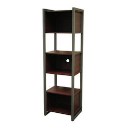 None - St. Croix Values Cherry Tall Shelving Unit - A clean, classic design and cherry finish highlights this three-door shelving unit from St. Croix Values. This unit can be used in the home office or living room for books, display, printer, electronic components and storage space.