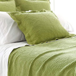 Pine Cone Hill - scramble matelasse sham (key lime) - Make a statement with intricately stitched branches that twine over this soft cotton matelasse sham featuring envelope back closure and 2-in. flange.��This item comes in��key lime.��This item size is��euro or std.