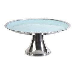 "IMAX - Donna Enamel Pedestal Stand - This pedestal stand features a cast aluminum body and aqua enameled serving tray, perfect for cakes and delectable desserts. Food safe. Item Dimensions: (6.75""h x 15""w x 15"")"