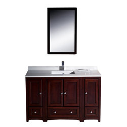 """Fresca - Oxford 48"""" Mahogany Vanity w/ 2 Side Cabinets Cascata Brushed Nickel Faucet - Blending clean lines with classic wood, the Fresca Oxford Traditional Bathroom Vanity is a must-have for modern and traditional bathrooms alike.  The vanity frame itself features solid wood in a stunning mahogany finish that?s sure to stand out in any bathroom and match all interiors.   Available in many different finishes and configurations."""