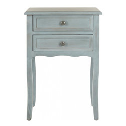 Safavieh - Charlita End Table - Feminine without the frill, the petite and traditional Charlita end table was inspired by a hidden treasure at a Paris flea market.  A blue grey finish on pine wood lends a casual country French air, while two drawers with simple hardware makes it at home in a bedroom or living room.  With scallop detailing and cabriole legs, Charlita is the perfect setting for precious objects you need to keep close to your heart.