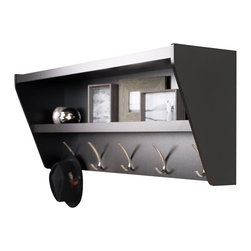 Prepac - Prepac Floating Entryway Shelf and Coat Rack in Black - Prepac - Coat Racks - BUCW05001 - Outfit your foyer with a smart and stylish storage solution ready for anything your family can throw at it. This modern shelf features 5 solid metal hooks that provide a perfect perch for coats hats and other entryway essentials. Open design shelves provide a handy spot to drop your keys purse wallet or to display decorative items. This product ships Ready To Assemble and includes an easy to follow instruction booklet. Our innovative hanging rail system includes all mounting hardware which makes installing at any height a breeze. Proudly manufactured in Canada using composite woods and finished with durable laminates.
