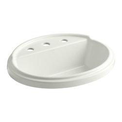 "KOHLER - KOHLER K-2992-8-NY Tresham Oval Self-Rimming Lavatory - KOHLER K-2992-8-NY Tresham oval self-rimming lavatory with 8"" widespread faucet drilling in Dune"