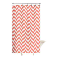 "American Made Dorm & Home - Shower Curtain, Coral Chevron - All-Cotton Shower Curtain in coral chevron to perk up your bath! 72""x72"" with button hole openings for shower hooks. Shower hooks not included."