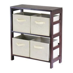 Winsome Trading, INC. - Winsome Wood Capri Section Shelf Accent Cabinet - 92861, Espresso/Beige - Winsomes Capri 5pc wood shelf with 4 black is space saving storage solution for use around the home. The wood shelf is 3 tiered and finished in a warm espresso stain. The beige fabric boxes fit neatly on the shelves and fold when not in use. The top shelf can be used to hold a lamp or display art work.