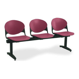 KFI Seating - Freestanding Armless Beam Chair w 3 Seats & B - Color: Burgundy3-Seat beam. Made of 15 gauge steel sandtex frame, powder-coated in black. High impact polypropylene seat and back. Injection aluminum alloy back supports. Free standing with adjustable glides. Great for waiting rooms and common areas. Pictured in Burgundy. 71 in. W x 22 in. D x 31 in. H