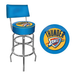 Trademark Global - Oklahoma City Thunder NBA Padded Swivel Bar S - Officially Licensed Art. Reverse Printed on Commercial Plastic to Protect Logo from Wear. Luxurious Foam Padding. .25 inch Vinyl Beading Marrying the Top and Side for Added Strength. Marine Grade Vinyl Sides. Chrome Plated Double Rung Base. Seat Dimensions: 14 x 14 x 5 inches. Back Rest Dimensions: 2 x 16.75 x 8.5 inches. Overall Dimensions: 20 x 20 x 41.75 inchesThis officially licensed chrome bar stool with back will provide you and your guests with a comfortable seat as well as a stylish accent to your game room, garage or collection. The stool's seat features an authentic logo highlighted by resilient marine grade vinyl sides trimmed with quarter inch vinyl beading. The seat also includes luxurious foam padding and a 360 degree swivel. The seat back provides added support and extra comfort. Chrome double rung reinforced legs are made of tubular steel that is both lightweight and durable. Bring style, function and comfort to your game room, garage or collection with an officially licensed chrome bar stool with back.
