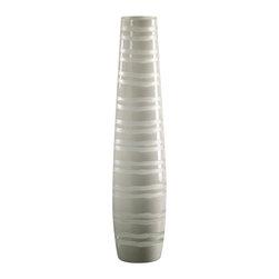 Medium White Matte Stripe Vase - *Medium White Matte Stripe Vase