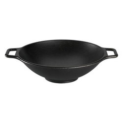 Lodge® Cast Iron Wok - Grandma was on to something with the timeless cast iron skillet, preferred by many chefs. Ready-to-use pre-seasoned wok gives that homespun cast iron appeal and solid performance. Renowned for its superior heat retention, cast iron also keeps its cool to serve chilled salads, desserts and cold dishes. Suitable for oven or grill, induction ranges and ceramic cooktops, this versatile wok doubles as a chef's pan for stirfrys, saut�ing and searing.