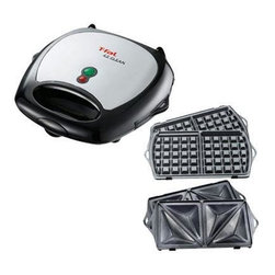 T-Fal/Wearever - T-Fal EZ Clean Sandwich Waffle Maker - T-Fal EZ Clean Sandwich & Waffle Maker 2 sets of interchangeable plates - pocket sandwich & waffle.  Light shows off/on.  Thermostatically controlled.  Cool touch exterior.  Non-stick plates make for easy cleaning.  One touch button for plate removal.