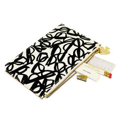 "Kate Spade - Kate Spade Pencil Pouch Set - Literary - Be prepared in style with this Kate Spade Literary Pencil Pouch. Pouch includes 2 white Pencils with ""TO WHOM IT MAY CONCERN"" printed in green, a gold pencil sharpener, an eraser with ""to err is human"" printed in black and a white and gold 6"" ruler with Kate Spade New York printed on it."