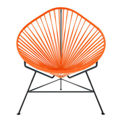 Acapulco Chair, Orange Weave On Black Frame - The Acapulco Chair - contemporary lounge or occasional chair suitable for indoors and out.  Composed of a tripod metal base and seat woven with vinyl cord. The Acapulco chair is similar in construction and form to our Innit chair though slightly more reclined with a pear shaped frame.  The galvanized steel is rust resistant and the very durable yet flexible, UV protected vinyl will stay colorfast for years.  This chair is incredibly comfortable without a cushion.  Its weatherproof, breathable, easy to clean, and available in everybodys favorite color. *Please refer to swatch image for accurate product color variations.