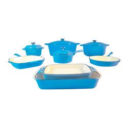 "Le Chef Cookware - Le Chef 12-Piece Enamel Cast Iron France Blue Cookware Set - Le Chef® enameled cast iron cookware set is conducts and retains heat while withstanding the rigors of daily use. Porcelain enamel interior finish requires no seasoning and resists scratches and chips. Goes easily from oven to table for beautiful presentation. High quality porcelain enamel coating is impermeable to odors and stains. Heavy duty cast iron construction for great cooking and a century of use. No seasoning required. Safe on all cook tops and in the oven to 475 degrees F. Flat bottoms are enameled as the france blue exterior. Stainless steel knob. Hand washing is recommended to preserve the cookware's original appearance. 10 1/2"" Grill Pan: Cut the fat, retain the flavor. Ribbed base separates the fat from the food allowing for healthier cooking and sears food evenly with characteristic char lines. Limited Warranty."