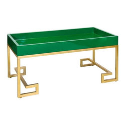 Worlds Away - Worlds Away Conrad Greek Key Green With Gold Tray Table - Worlds Away touches the home with marvelous of-the-moment treasures inspired by vintage finishes, patterns and styles. Boldly merging contemporary color with classic accents, the Conrad tray table defines statement-making sophistication. Atop gorgeously gold-leafed Greek key legs, an emerald green lacquered top lends the transitional living room an enticing display surface. Base is made from iron.