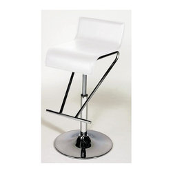Chintaly - Contemporary Adjustable Height Swivel Stools - Ultra-stylish and sophisticated, the stunning combination of pure white and brilliant chrome makes these amazing stools real show-stoppers.  The graceful waterfall swivel seats create a fabulous profile, and the height adjusts easily with a smoothly operating gas-lift mechanism.  Upholstered in durable PVC vinyl, clean-up is a cinch with a damp cloth.  If you're serious about cutting-edge contemporary design, these stools are for you. Metal construction. White PVC upholstery. No assembly required. Adjustable seat height from 19 in. to 30 in.. Overall Size:17 in. W x 17 in. L x 37 in. H