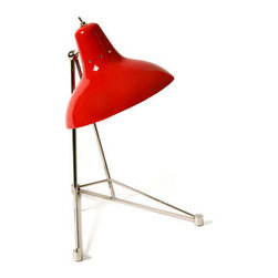 Delightfull - Diana Table Lamp - Diana Table Lamp featuring a Glossy Red shade and Nickel plated finish is like a vintage piece of art, functional and well structured. One 60 watt, 120 volt A19 type Medium base incandescent bulb is required, but not included. 13.4 inch width x 17 inch height.