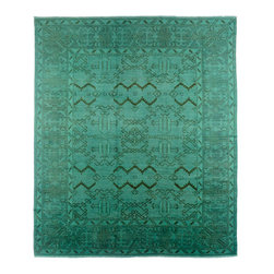 Hand-Woven Afghani Teal Rug - This handmade carpet was woven in Afghanistan. Made with the finest wool, this rug uses various vegetable dies to produce a rich teal color that will bring a real vibrancy to any space. It's a true centerpiece.