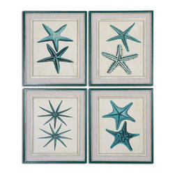 Uttermost - Uttermost Coastal Starfish Framed Art Set of 4 51093 - Prints are accented by sand colored mats. The painted frames are distressed turquoise with gray and white inner lips. Inner fillets are distressed with gray, offwhite and a light brown wash.